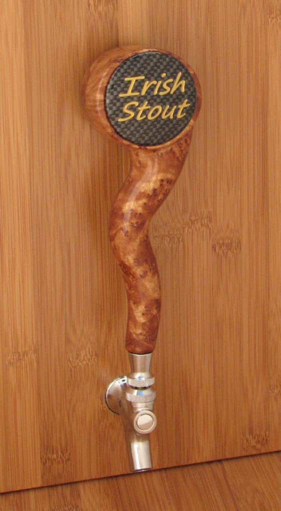 """Wicked Taps"" Amber Burl with Carbon Fiber Round Medallion!"